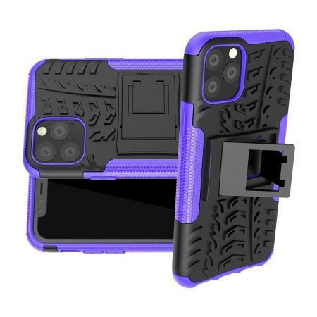Двухкомпонентный Противоскользящий Гибридный Противоударный Чехол для iPhone 11 Pro с Подставкой Фиолетовый