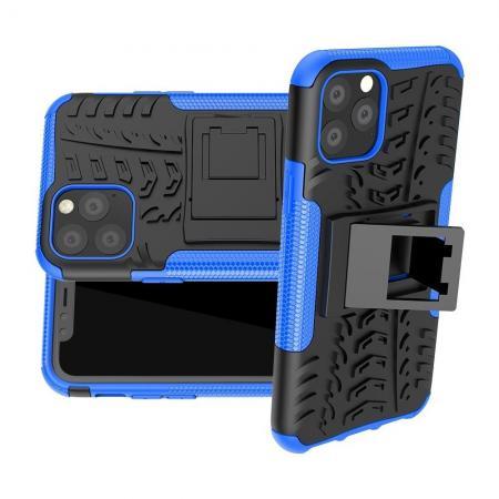 Двухкомпонентный Противоскользящий Гибридный Противоударный Чехол для iPhone 11 Pro с Подставкой Синий