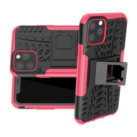 Двухкомпонентный Противоскользящий Гибридный Противоударный Чехол для iPhone 11 Pro с Подставкой Светло Розовый
