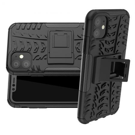 Двухкомпонентный Противоскользящий Гибридный Противоударный Чехол для iPhone 11 с Подставкой Черный