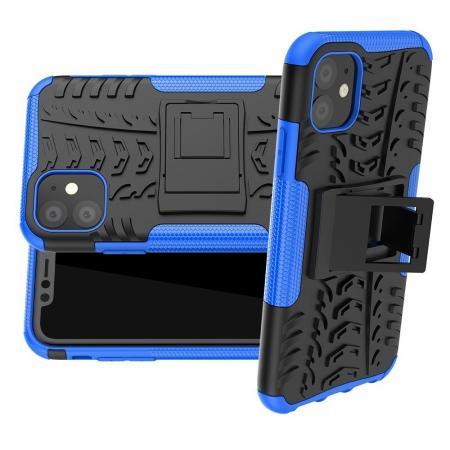 Двухкомпонентный Противоскользящий Гибридный Противоударный Чехол для iPhone 11 с Подставкой Синий / Черный