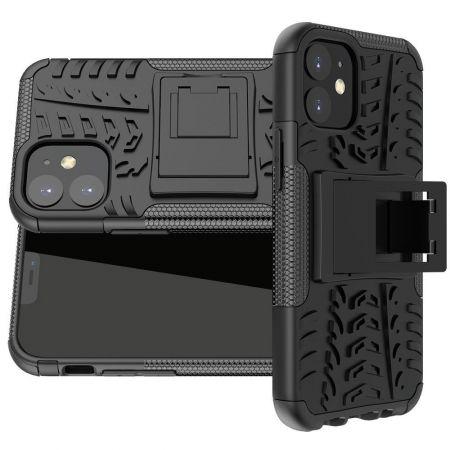 Двухкомпонентный Противоскользящий Гибридный Противоударный Чехол для iPhone 12 mini с Подставкой Черный