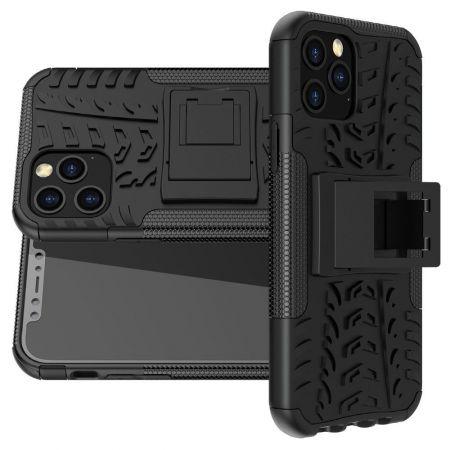 Двухкомпонентный Противоскользящий Гибридный Противоударный Чехол для iPhone 12 Pro 6.1 / Max 6.1 с Подставкой Черный