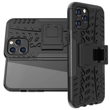 Двухкомпонентный Противоскользящий Гибридный Противоударный Чехол для iPhone 12 Pro Max с Подставкой Черный