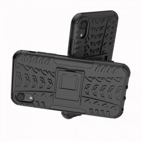 Двухкомпонентный Противоскользящий Гибридный Противоударный Чехол для iPhone XR с Подставкой Черный