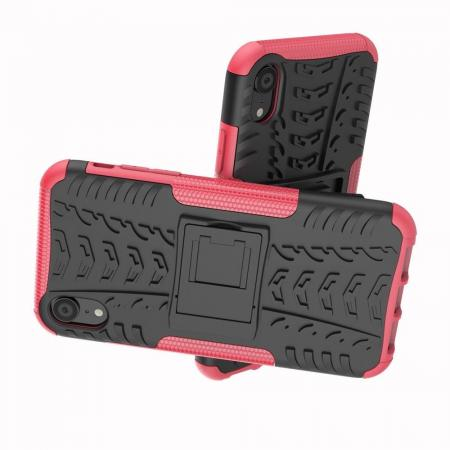 Двухкомпонентный Противоскользящий Гибридный Противоударный Чехол для iPhone XR с Подставкой Розовый