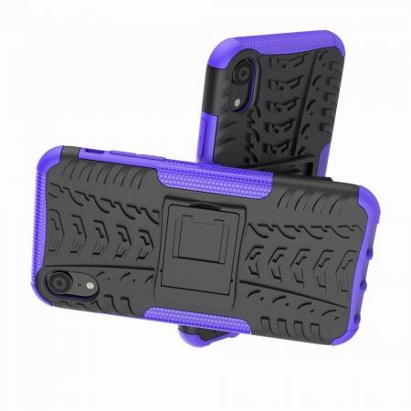 Двухкомпонентный Противоскользящий Гибридный Противоударный Чехол для iPhone XR с Подставкой Фиолетовый