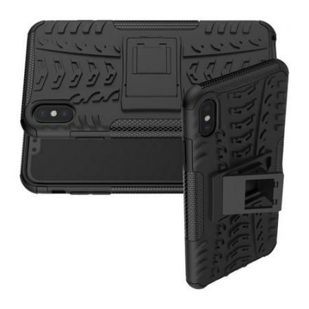 Двухкомпонентный Противоскользящий Гибридный Противоударный Чехол для iPhone XS Max с Подставкой Черный
