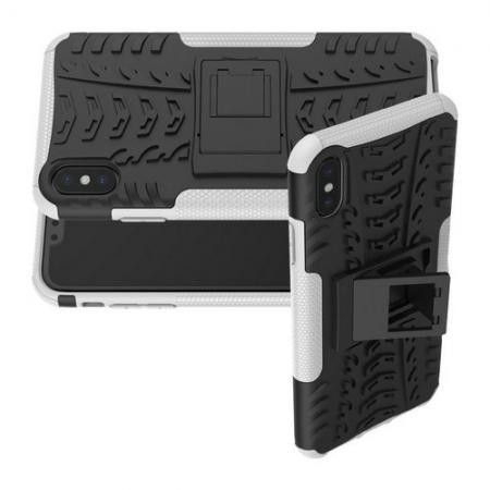 Двухкомпонентный Противоскользящий Гибридный Противоударный Чехол для iPhone XS Max с Подставкой Белый