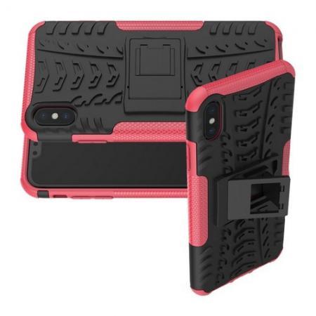 Двухкомпонентный Противоскользящий Гибридный Противоударный Чехол для iPhone XS Max с Подставкой Розовый