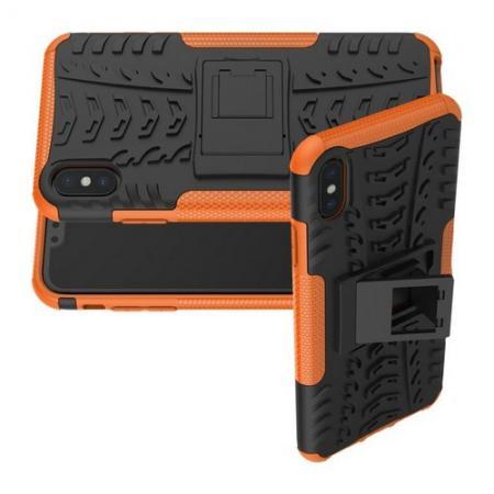 Двухкомпонентный Противоскользящий Гибридный Противоударный Чехол для iPhone XS Max с Подставкой Оранжевый