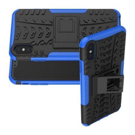 Двухкомпонентный Противоскользящий Гибридный Противоударный Чехол для iPhone XS Max с Подставкой Синий