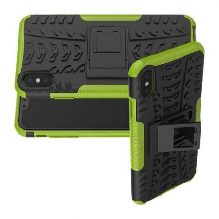Двухкомпонентный Противоскользящий Гибридный Противоударный Чехол для iPhone XS Max с Подставкой Зеленый