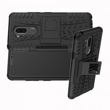 Двухкомпонентный Противоскользящий Гибридный Противоударный Чехол для LG G7 ThinQ с Подставкой Черный
