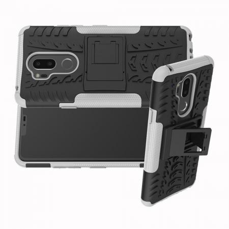 Двухкомпонентный Противоскользящий Гибридный Противоударный Чехол для LG G7 ThinQ с Подставкой Белый
