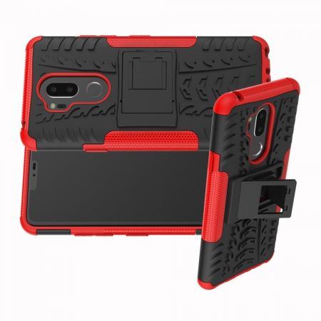 Двухкомпонентный Противоскользящий Гибридный Противоударный Чехол для LG G7 ThinQ с Подставкой Красный