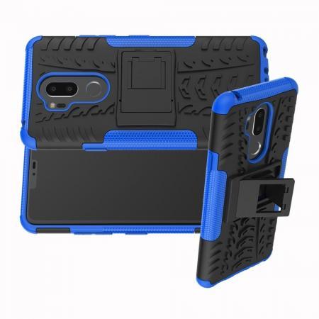 Двухкомпонентный Противоскользящий Гибридный Противоударный Чехол для LG G7 ThinQ с Подставкой Синий