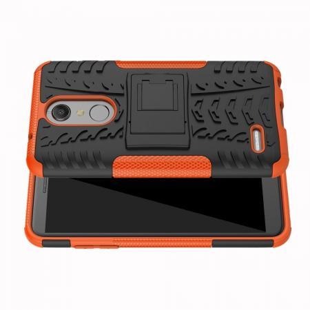Двухкомпонентный Противоскользящий Гибридный Противоударный Чехол для LG K11 с Подставкой Оранжевый