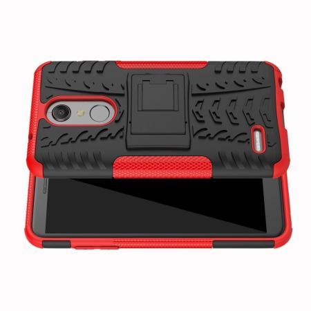 Двухкомпонентный Противоскользящий Гибридный Противоударный Чехол для LG K11 с Подставкой Красный