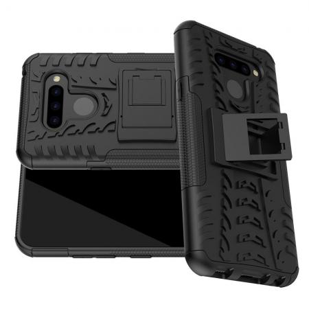 Двухкомпонентный Противоскользящий Гибридный Противоударный Чехол для LG Q60 с Подставкой Черный