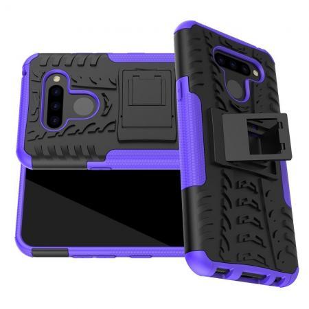 Двухкомпонентный Противоскользящий Гибридный Противоударный Чехол для LG Q60 с Подставкой Фиолетовый