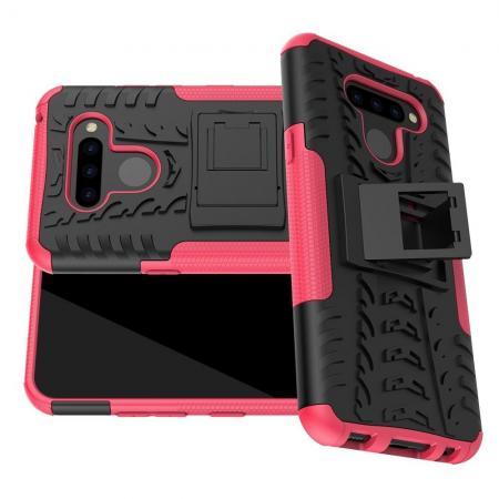 Двухкомпонентный Противоскользящий Гибридный Противоударный Чехол для LG Q60 с Подставкой Розовый