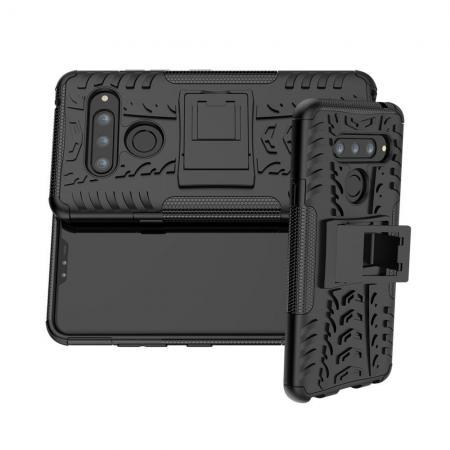 Двухкомпонентный Противоскользящий Гибридный Противоударный Чехол для LG V40 ThinQ с Подставкой Черный