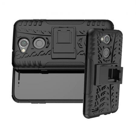 Двухкомпонентный Противоскользящий Гибридный Противоударный Чехол для LG X Power 3 с Подставкой Черный