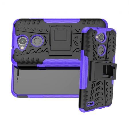 Двухкомпонентный Противоскользящий Гибридный Противоударный Чехол для LG X Power 3 с Подставкой Фиолетовый