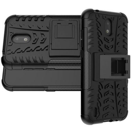 Двухкомпонентный Противоскользящий Гибридный Противоударный Чехол для Nokia 1.3 с Подставкой Черный