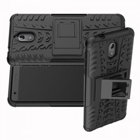 Двухкомпонентный Противоскользящий Гибридный Противоударный Чехол для Nokia 3.1 2018 с Подставкой Черный