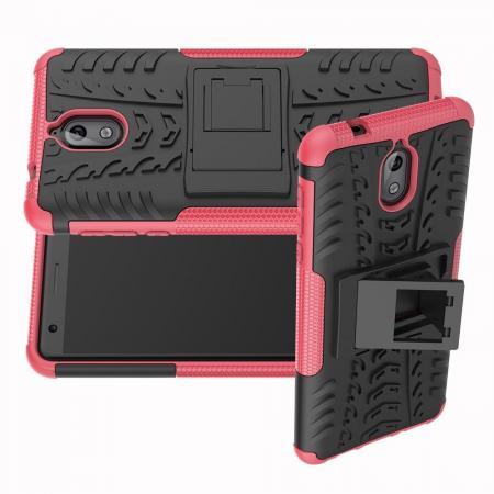Двухкомпонентный Противоскользящий Гибридный Противоударный Чехол для Nokia 3.1 2018 с Подставкой Розовый