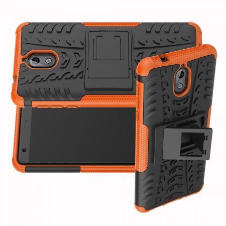 Двухкомпонентный Противоскользящий Гибридный Противоударный Чехол для Nokia 3.1 2018 с Подставкой Оранжевый