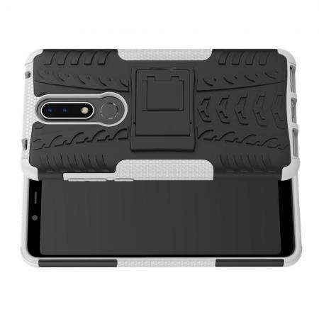 Двухкомпонентный Противоскользящий Гибридный Противоударный Чехол для Nokia 3.1 Plus с Подставкой Белый