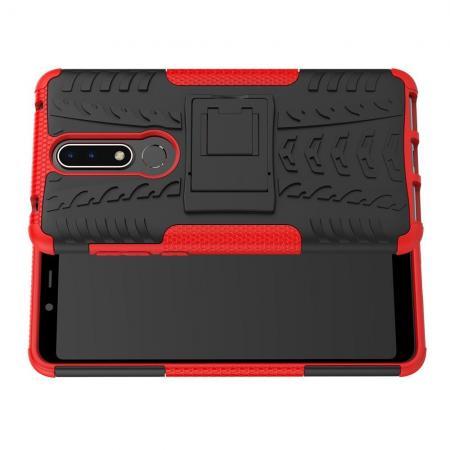 Двухкомпонентный Противоскользящий Гибридный Противоударный Чехол для Nokia 3.1 Plus с Подставкой Красный