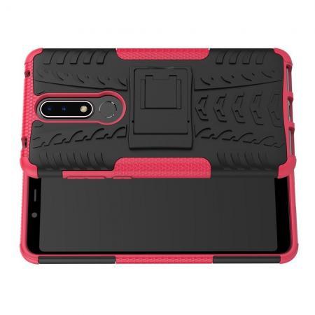 Двухкомпонентный Противоскользящий Гибридный Противоударный Чехол для Nokia 3.1 Plus с Подставкой Розовый