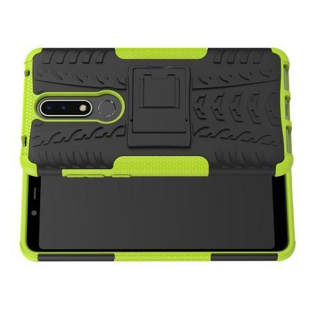Двухкомпонентный Противоскользящий Гибридный Противоударный Чехол для Nokia 3.1 Plus с Подставкой Зеленый