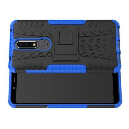 Двухкомпонентный Противоскользящий Гибридный Противоударный Чехол для Nokia 3.1 Plus с Подставкой Синий