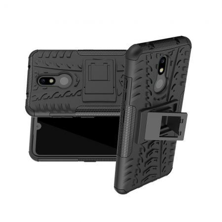 Двухкомпонентный Противоскользящий Гибридный Противоударный Чехол для Nokia 3.2 с Подставкой Черный