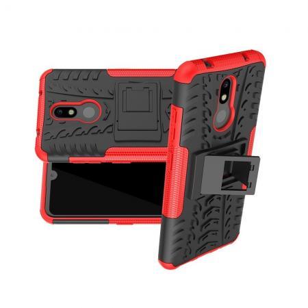 Двухкомпонентный Противоскользящий Гибридный Противоударный Чехол для Nokia 3.2 с Подставкой Красный