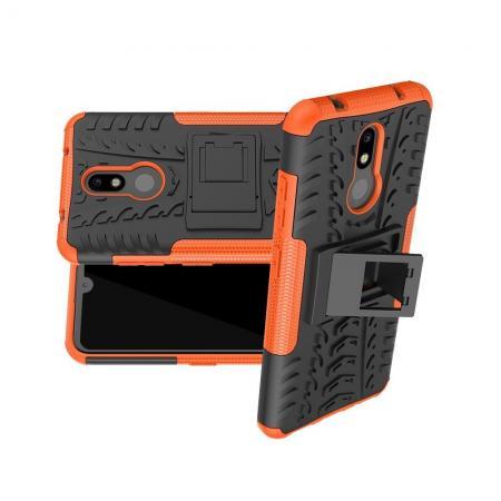 Двухкомпонентный Противоскользящий Гибридный Противоударный Чехол для Nokia 3.2 с Подставкой Оранжевый