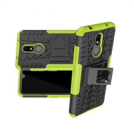 Двухкомпонентный Противоскользящий Гибридный Противоударный Чехол для Nokia 3.2 с Подставкой Зеленый