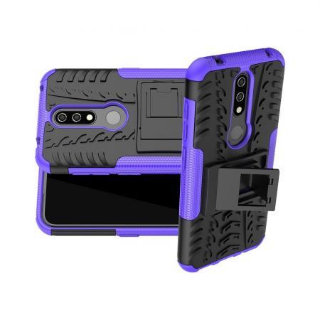 Двухкомпонентный Противоскользящий Гибридный Противоударный Чехол для Nokia 4.2 с Подставкой Фиолетовый