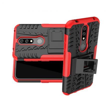 Двухкомпонентный Противоскользящий Гибридный Противоударный Чехол для Nokia 4.2 с Подставкой Красный