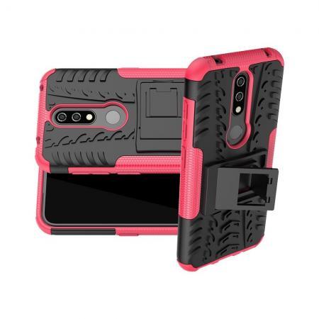 Двухкомпонентный Противоскользящий Гибридный Противоударный Чехол для Nokia 4.2 с Подставкой Розовый