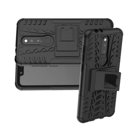 Двухкомпонентный Противоскользящий Гибридный Противоударный Чехол для Nokia 5.1 Plus с Подставкой Черный