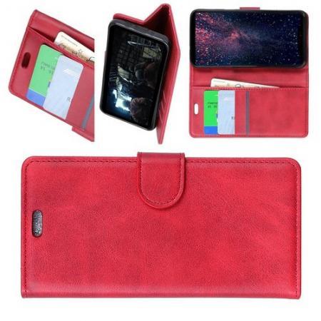 Боковая Чехол Книжка Кошелек с Футляром для Карт и Застежкой Магнитом для Samsung Galaxy J6+ Красный