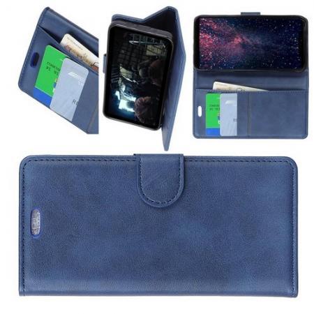 Боковая Чехол Книжка Кошелек с Футляром для Карт и Застежкой Магнитом для Samsung Galaxy J6+ Синий