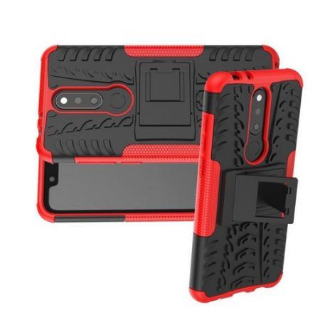 Двухкомпонентный Противоскользящий Гибридный Противоударный Чехол для Nokia 5.1 Plus с Подставкой Красный