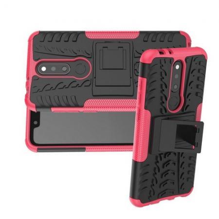Двухкомпонентный Противоскользящий Гибридный Противоударный Чехол для Nokia 5.1 Plus с Подставкой Розовый